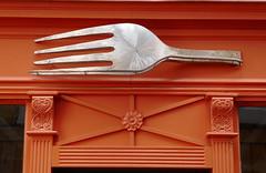 Huge fork, orange façade - restaurant on rue Christine, Paris (Monceau) Tags: huge fork sign restaurant ruechristine orange façade
