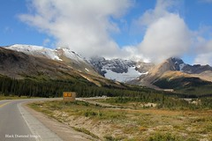 Mountains & Glacier along the Icefields Parkway, Alberta, Canada (Black Diamond Images) Tags: icefieldsparkway scenictours scenic 2012 alberta canada banfftojasper nationalpark mountains mountain unidentifiedmountain canadianmountains albertamountains forest sky water tree landscape jaspernationalpark