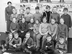 Class photo (theirhistory) Tags: children boy kid girls teacher trousers jumper shoes wellies jacket