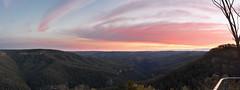 A Wider View (Another Morton National Park Sunset Vista) (Den Rob) Tags: gullies creeks art f14 hills valleys d750 sigma 50mm bundanoon nikon mortonnationalpark trees bush cliffs clouds crimson orange pink red magenta