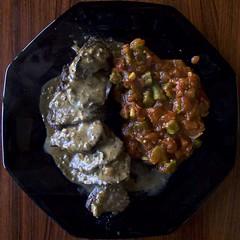 Rookra (Padmacara) Tags: australia cooking kangaroo sauce grill okra tomato food