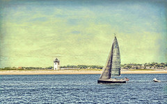Magpie & Long Point (CapeCawder) Tags: photoart lighthouse topaztextureeffects2 capecod sailboats sailing ptown capecawder topazfxlab lightroomcc topazsoftware longpointlighthouse provincetown usflag