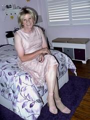 Mauve and Lace (krislagreen) Tags: tg transgender transvestite cd crossdress feminized femme tv dress highheels patent sandals hose effeminate
