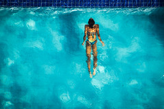 Mermaiding (haddartist) Tags: water textures movement ripples rippled clear clarity pool wall tile woman swim swimming bikini underwater shadow afternoon light sunny sunshine colorful above view riograndedonorte brasil brazil