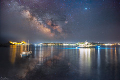 Milkyway above Corfu town, from Vido island (Bill-Metallinos) Tags: corfu greece vido island milkyway milky way nightscape nightsky night photography galaxy astronomy lightpollution greeksky kerkira metallinos astrophotography astrocorfu astrolandscape astrophoto unesco heritage summer sea seascape boat ship yacht