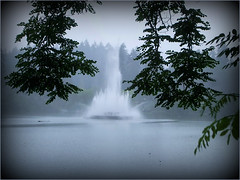The Call of Autumn Mists (FernShade) Tags: vancouverbc stanleypark lostlagoon autumn fallmist water lake fountain lostlagoonfountain trees nature outdoor