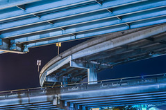 steel layers (pbo31) Tags: sanfrancisco california nikon d810 color august summer 2018 boury pbo31 city urban somisspo freeway central roadway highway support steel night dark under blue ramp overpass exit
