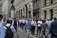 2018-07-10: Crowding The Street (psyxjaw) Tags: london londonist city cityoflondon work offices bank bankofengland watching walk people raf100 planes flypast