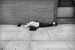 Ruined by Bitcoin - Los Angeles, CA (Rex Mandel) Tags: street streetperson sleepingonsidewalk old homeless contrast streetphotography sidewalk hat whitesocks losangeles la blackandwhite bw hollywood