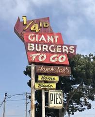 HAMBRICK'S 1-4 LB GIANT BURGERS RICHMOND CALIF (ussiwojima) Tags: hambricks14poundgiantburger hambricks14poundgiantburgers drivein restaurant richmond california neon advertising sign