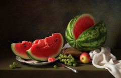 Still life with watermelon and grapes (Tatyana Skorokhod) Tags: watermelon apple grapes berries fruit stilllife decor indoors