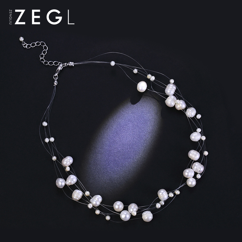 ZENGLIU imitation pearls sweater necklace, female clavicle chain day, South Korea simple Parkour dress accessories, neck ornaments