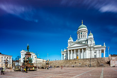 Helsinki Cathedral (Jakub Slovacek) Tags: alexanderii europe finland finsko helsingfors helsingintuomionkirkko helsinki helsinkicathedral senaatintori senatesquare suomi architecture building cathedral church city cityscape clouds historical landmark longexposure people spring square statue travel dome cupola