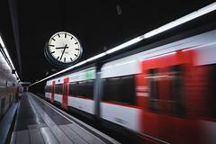Time (modesrodriguez) Tags: barcelona metro ferrocarril street photography fuji train station clock classic color red