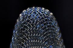 "Mesh (Millie Cruz ""Catching up in weekend"") Tags: stainlesssteel strainer sink metal blackbackground light blue macromondays mesh canoneosrebelt6i ef100mmf28lmacroisusm dome standing abstract"
