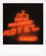 Trail Riders Neon 2 (tobysx70) Tags: polaroid originals color 600 instant film slr680 trail riders neon east agate avenue granby colorado co sign lit illuminated night nocturnal horse cowboy glow handheld red motel no vacancy polaradoone polarado 072118 toby hancock photography