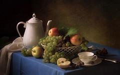 With grapes and apples (Tatyana Skorokhod) Tags: stilllife grapes apples fruit tea teapot decor