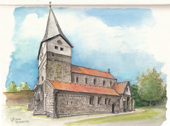 Faurndau, Stiftskirche (Chris Kex) Tags: faurndau stiftskirche romanisch kirche church chapel romanesque aquarell germany deutschland schwäbische romanik architecture urban sketching sketch skizzenbuch skizzieren watercolour fineliner plein air freihandzeichnung zeichnen zeichnung württemberg