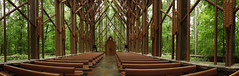 Hot Springs - The Antony Chapel Panorama (Drriss & Marrionn) Tags: garvanwoodlandgardens hotsprings arkansas usa botanicalgarden garden forest woods chapel anthonychapel indoor architecture design openchapel interior glasschapel interiordesign church pano panorama building buildings wood glass green tree trees foliage geometric symmetry
