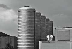 Parade (Robin Shepperson) Tags: monochrome blackandwhite towers industry berlin germany d3400 nikon linesymmetry white light building factory bw industrial 70300mm tamron