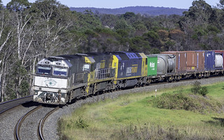 Pacific National's NR84 in Southern Spirit livery leading NR64 and AN4