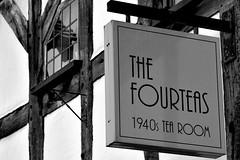 Fourteas (42jph) Tags: stratforduponavon warwickshire uk england nikon d7200 sheep street fourteas 1940 1940s tea room cafe restaurant sign mono black white bw