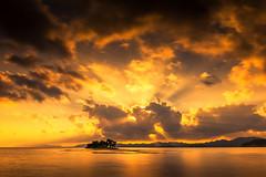 sunset 2594 (junjiaoyama) Tags: japan sunset sky light cloud weather landscape orange contrast color bright lake island water nature summer reflection rays beams sunburst