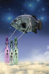 Three Aliens, Three Bottles and One Fish (Cat Girl 007) Tags: mmmchallenge bottle fish alien surreal surrealism photomanipulation
