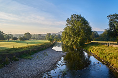 Once on a Summer Morning (scottprice16) Tags: england lancashire grindleton view landscape trees hills pennines southpennines pendlehill riverribble river summer july 2018 morning water reflections outdoors walking leisure activity ribbleway ldnp blue orange cloud leica leicaxvario mist