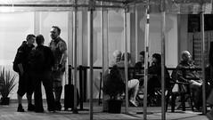 Book Festival After Dark 02 (byronv2) Tags: edinburgh edinburghfestival edinburghbynight festival charlottesquare newtown edimbourg scotland street candid peoplewatching night nuit nacht blackandwhite blackwhite bw monochrome eibf eibf2018 edinburghinternationalbookfestival2018 edinburghinternationalbookfestival literature literaryfestival table chair standing sitting