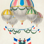 French flag decorated group of air balloons harnessed together, by Leon Benett (1917) or Alphonse-Marie-Adolphe de Neuville (1855). Original from Library of Congress. Digitally enhanced by rawpixel. thumbnail