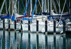 compensating (gnarlydog) Tags: adaptedlens manualfocus kodakcineektanon102mmf27 reflection sailing boat vintagelens water lake urban