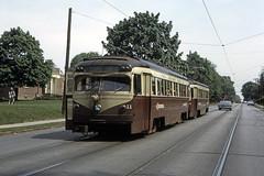 US PA Philadelphia SEPTA-PSTC Red Arrow 11 5-1955 Woodlawn Ave (David Pirmann) Tags: pa pennsylvania philadelphia septa redarrow pstc philadelphiasuburbantransco interurban train trolley tram transit railroad