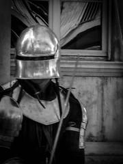 Knight in Shining Armour, Avignon (bobbex) Tags: france french medieval historic bw blackandwhite blackwhite armour military helmet