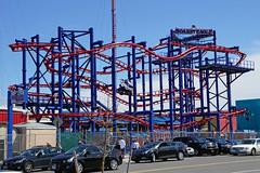 Soarin' Eagle roller coaster - Coney Island, Brooklyn (SomePhotosTakenByMe) Tags: soarineagle rollercoaster achterbahn amusementride fahrgeschäft urlaub vacation holiday usa america amerika unitedstates newyork nyc newyorkcity newyorkstate stadt city coneyisland brooklyn outdoor lunapark amusementpark freizeitpark auto car