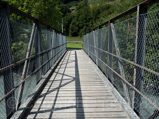 LIN430 Grueb Pedestrian Bridge over the Linth River, Haslen, Canton of Glarus, Switzerland