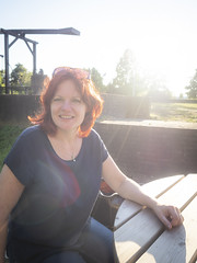 Jeannette, Lisse 2018: So much charm (mdiepraam (30 mln views!)) Tags: jeannette lisse 2018 huysdever portrait pretty beautiful gorgeous attractive elegant classy dutch fiftysomething redhead woman lady milf naturalglamour smile backlight bluetop sunglasses denim jeans