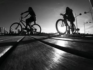 Sunny bike ride B&W