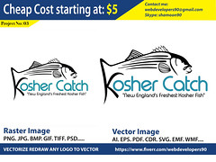 Kosher Catch Logo (Graphics Art Studio) Tags: vectorconversion vectorize adobeillustrator rasterimagetovector redrawlogo vectorizelogo