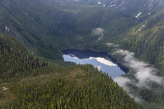 Wilderness valley (tmeallen) Tags: mountains valley wilderness snow lake reflections mists northtemperaterainforest remote roadless aerialview britishcolumbia canada evergreens clouds peaks
