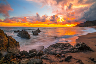 Malibu Beach Fine Art Landscape Seascape Photography: Sony A7RII Sunset Pacific Ocean Fine Art Nature Photography: Elliot McGucken California Ocean Colorful Clouds Long Exposure Water Reflections Scenic Vista View! Carl Zeiss Sony T* FE 16-35mm f/4 ZA OSS