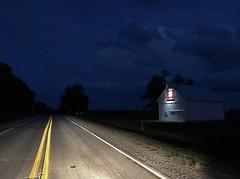 Roadside Iowa at night - Hiway 21, North of Delta (Lights in my hometown) Tags: delta keokukcounty iowa farm country barn quilt headlights light highway road roadside night blue hour darkness clouds ©sharidayton