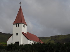 "Church at Vik (Say ""Wasabi"") Tags: iceland vik storm sky church red olympus m43 omdem5ii mzuiko1240 scenery landscape clouds moody grey"