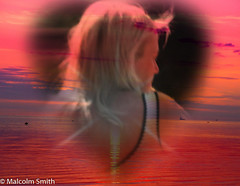The Blonde (M C Smith) Tags: sea blonde girl woman red sunset pentax k3ii surreal white black yellow purple sunlight shadow clouds water
