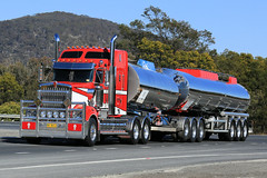 Tanking (1/3) (Jungle Jack Movements (ferroequinologist)) Tags: tank tanking tanktainer freighter western star kenworth red white hume highway boxers creek goulburn new south wales nsw australia layanda qui chemtrans hp horsepower big rig haul haulage freight cabover trucker drive transport carry delivery bulk lorry hgv wagon road nose semi trailer deliver cargo interstate articulated vehicle load ship move roll motor engine power teamster truck tractor prime mover diesel injected driver cab cabin loud rumble beast wheel exhaust double b grunt