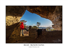 Blue Mountains Australia (sugarbellaleah) Tags: standing winter windy gusty shelter gale sunny cave rock geology bluemountains australia woman female beanie jacket warm chilly soorway doorframe bricks home mountains exploring adventure people outdoors