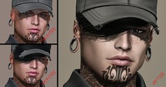 Before ::After  - self portrait - (kes.myas) Tags: catwa hat baseballhat tattoo man male secondlife ink portrait photoshop photomanipulation