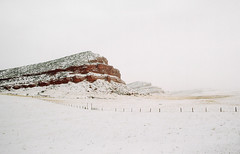 wyoming winter, part one (manyfires) Tags: wyoming rural farm ranch roadtrip winter snow cold nikonf100 35mm analog film landscape fence fencing