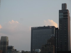 2018 August Evening Clouds 7792 (Brechtbug) Tags: 2018 august evening clouds virtual clock tower from hells kitchen clinton near times square broadway nyc 08162018 new york city midtown manhattan summer summertime weather building pink low hanging cloud hell s nemo southern view ny1rain