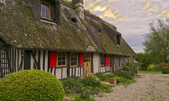 The cottage with orange shutters (JLM62380) Tags: maraisvernier cottage orange shutters sky mousse moss garden normandy seine village country campagne